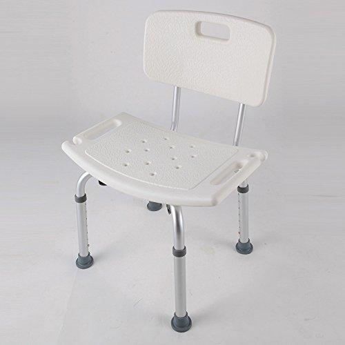 Roilois neu abnehmbare Dusche Stuhl Badestuhl mit Rückenlehne 6 fach höhenverstellbar Badhocker Duschhocker Duschhilfe für Alter Schwangere Behinderter (E)