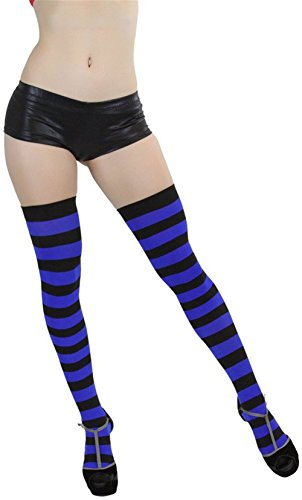 Raylarnia Women's Extra Long Opaque Striped Over Knee High Stockings Socks-Black/ Royal Blue Stripes (Royal Blue Fishnet Tights)