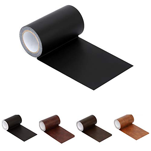 (Leather Repair Tape Patch Leather Adhesive for Sofas, Car Seats, Handbags, Jackets,First Aid Patch 2.4X19 (inches) Black )