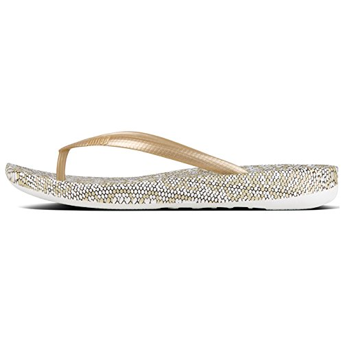 FitFlop Women's Iqushion Snakeprint Flip-Flops Gold Mix (Mix Flip Flops Thong Sandals)