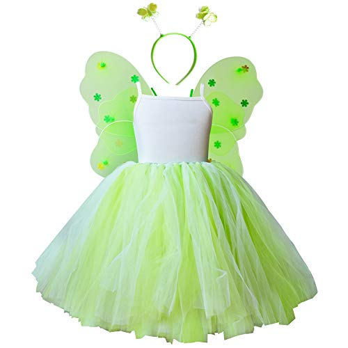 Tinkerbell Costumes Girls Birthday Tutu Dresses Tinkerbelle Toddler Party Fairy Dress up Butterfly Wings Headband Set