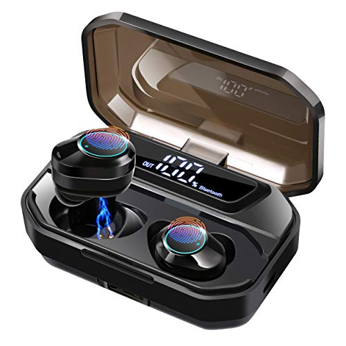 Earbuds Bluetooth Wireless with Mic, COOCHEER Bluetooth 5.0 Earphones with Intelligent LED Display, Touch Screen One Key Control Auto Pairing Headphones, IPX68 Waterproof 110H Play Time Case