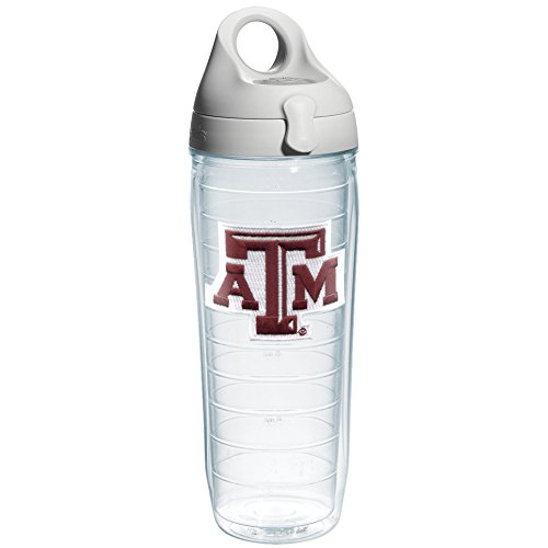 Water Aggies A&m Texas (Tervis Texas A and M University Emblem Individual Water Bottle with Gray Lid, 24 oz, Clear)