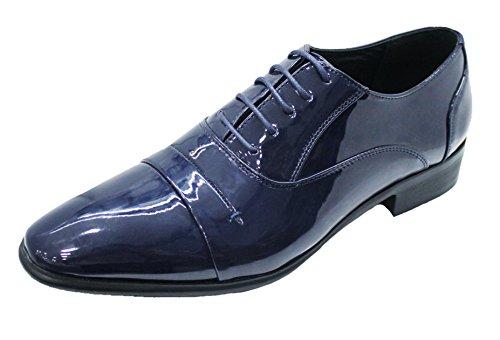 Scarpe linea cerimonia classica blu class shoes eleganti man's uomo vernice qIwrAqv