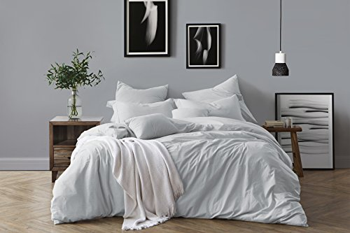 Swift Home 100% Cotton Washed Yarn Dyed Chambray Duvet Cover & Sham Bedding Set, Ultra-Soft Luxury & Natural Wrinkled Look – Twin/Twin XL, Pale Blue by Swift Home