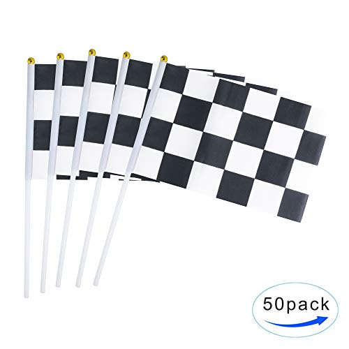 50 Pack Checkered Flag Racing Flag Hand Held Stick Flags, Black & White Checkered Flag Racing Pennant Banner Flags,Decorations Supplies For Racing,Race Car Party,Sport Events,Kids Birthday