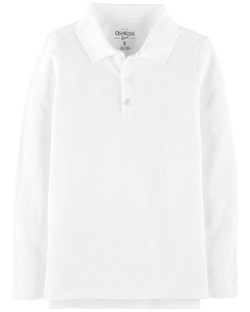 OshKosh BGosh Girls White Long Sleeve Polo Uniform Shirt 12