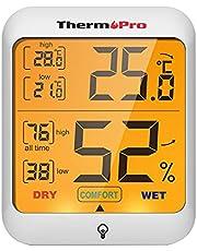 Thermopro TP53 Digital Termohygrometer Termometer Hygrometer Rumsluftövervakning Temperatur och Luftfuktighetsmätare med Bakgrundsbelysning, Vit