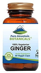 Ginger Capsules - 90 Kosher Vegan Caps - Now with 1000mg Organic Ginger Root