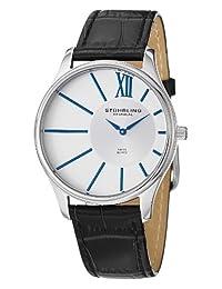 Stuhrling Original Men's 553.33152 Classic Cuvette SD Swiss Quartz Slim Stainless Steel Silver Dial Watch