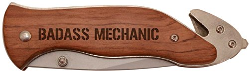 Father's Day Gift for Badass Mechanic Laser Engraved Stainless Steel Folding Survival Knife