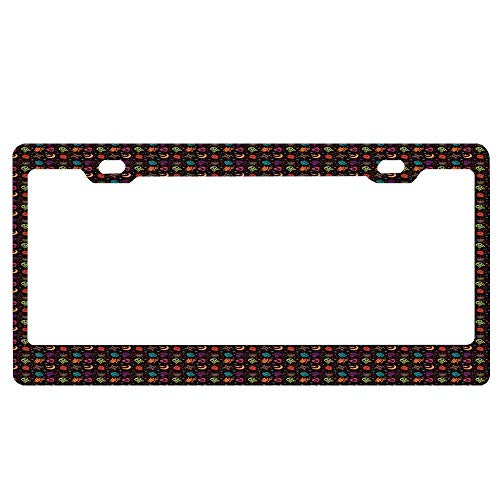 Cute Hallowen Pattern Background Customized License Plate Frame, Car License Plate Cover, Car License Tag, Aluminum Metal License Plate Holder]()