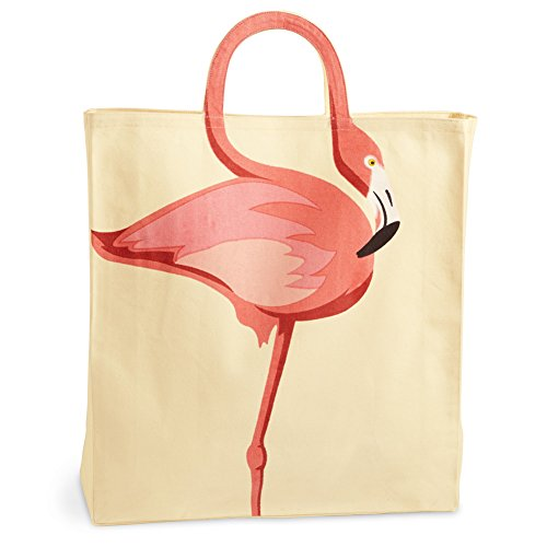 Women's Flamingo Tote Bag - Adorable Flamingo Neck Handle - Cotton Canvas