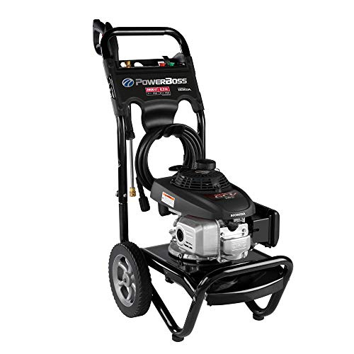 Commercial Engine - PowerBoss Gas Pressure Washer 2800 PSI 2.3 GPM Powered by HONDA GCV160 Engine with 25' High-Pressure Hose, 3 Nozzles & Detergent Injection