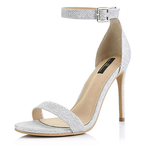DailyShoes Women's Open Toe Ankle Buckle Strap Platform Casual Pump Heel Sandal Shoes, Silver Glitter, 7 B(M) (Heel Platform Open Toe Pumps)