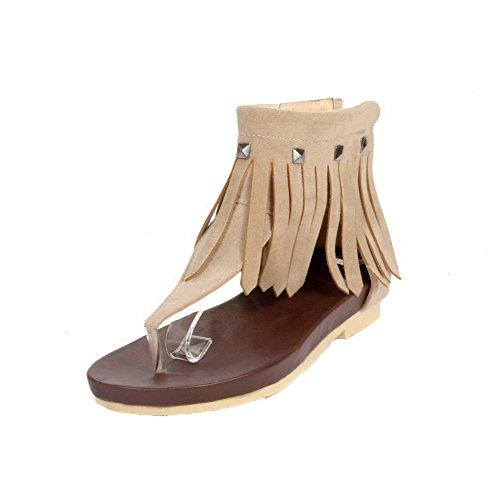 Sandali Solidi Smerigliati Beige A Tacco Medio A Vita Bassa Con Cerniera