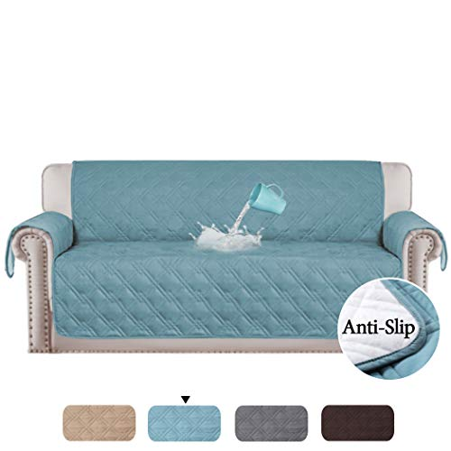 H.VERSAILTEX 100% Waterproof Slip Resistant Sofa Slipcover Protector Couch Cover Perfect for Leather Sofa and Cloth Sofa, Furniture Protector Stay in Place (Oversized Sofa: Smoke Blue) - 86