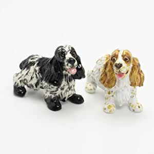 English Cocker Spaniel Dog Ceramic Figurine Salt Pepper Shaker 00004 Ceramic Handmade Dog Lover Gift Collectible Home Decor Art and Crafts