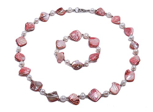 JYX White Freshwater&Seashell Pearl Necklace Bracelet Jewelry Set for Women (Pink) (Jewelry Pearl Set Shell)