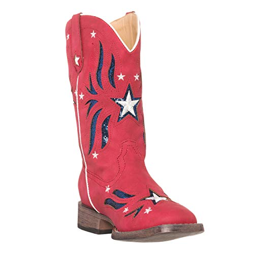 Children Western Kids Cowboy Boot,Red,8 M US Toddler ()