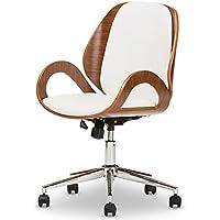 Baxton Studio Didier Modern & Contemporary Office Chair, Walnut/White