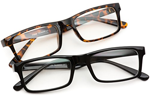 New Glossy Tiny Small Square Clear Lens Glasses (1 x Black / 1x Tortoise, 28) (Clear Small Lens)