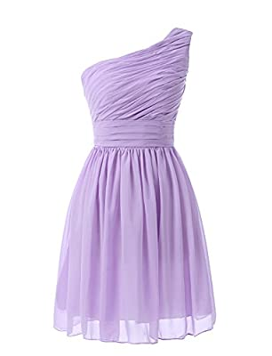 Kiss Dress Women's Short Bridesmaid Dresses One Shoulder Chiffon Prom Gowns