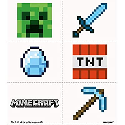Unique Shindigz Minecraft Tattoo Party Favors, 24 Ct.