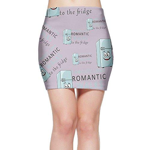 Price comparison product image I Enjoy Long Romantic Walks To The Fridge Women's High Waist The Knee Mini Short Skirts