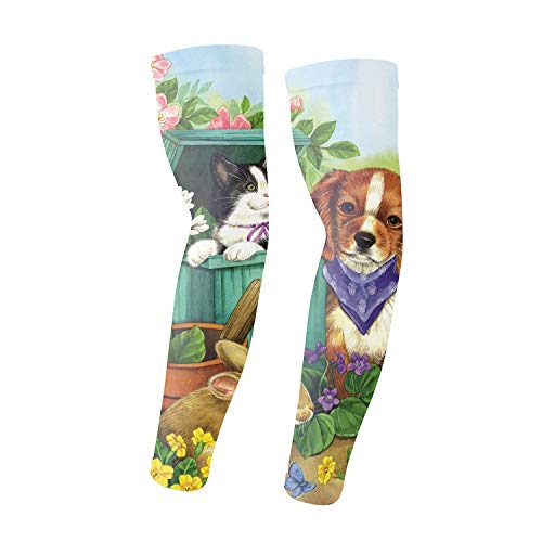 1 Pair Compression Arm Sleeves for Basketball Football Baseball - Labrador Retriever ()