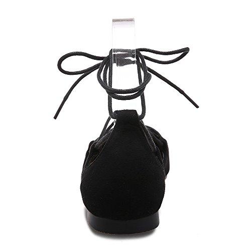 Allhqfashion Donna Mix Materiali Scarpe Stringate In Tinta Unita Con Punta Chiusa Senza Tacchi Scarpe-nere