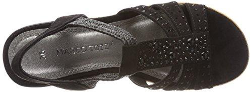 Marco Tozzi 28305, Sandalias de Talón Abierto Para Mujer Negro (Black)