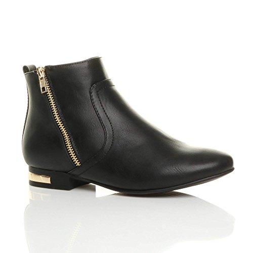 Womens Ladies Low Heel Gold Zip Contrast Riding Pixie Ankle Boots Booties Size Black Matte