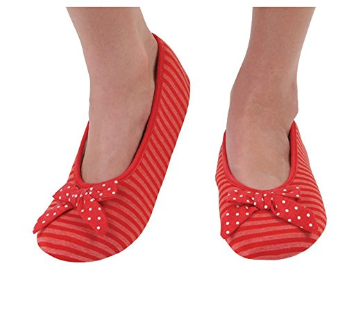 Ballet Striped Slippers (Snoozies Women's Lightweight Striped Ballet with Bow Slipper Socks (Small, Red))