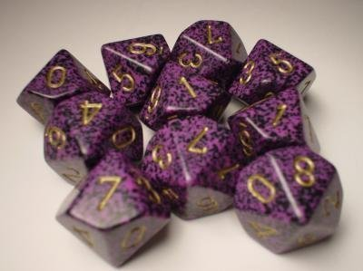 Chessex Dice Sets: Hurricane Speckled - Ten Sided Die d10 Set (10) (D10 Set)