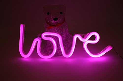 Neon Signs Pink Love Shaped LED Light 6×12 Inch USB or Battery Powered Handcrafted Visual Artwork For Bedroom Wedding Bachelorette Party Kids Room Home Wall Decor Photo Props (Photo Booth Strip Costume)