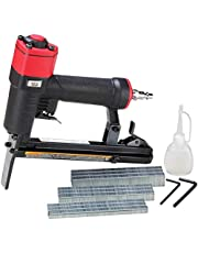 3PLUS H7116LSP-KT 22 Gauge 3/8-Inch Crown Pneumatic Upholstery Stapler with Long Nose, Air Stapler Kit, with 6000 Staples, 1/4-Inch to 5/8-Inch