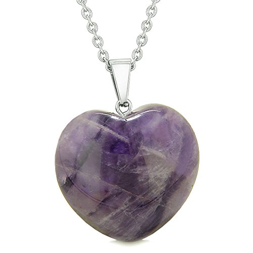 Lucky Puffy Heart Charm Crystal Purple Quartz Good Luck Protection Powers Amulet Pendant 22 Inch Necklace