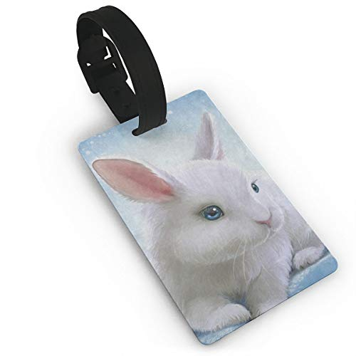 (Airealy Luggage Tag Hipster Bunny Rabbit Easter Business ID Card Holder for Travel BaggageTags Suitcase Labels Bag Travel Accessories Set of 2)