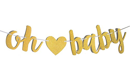 Fecedy Gold Glittery Letters OH BABY With Heart Banner for Baby (Banner For Baby Shower)