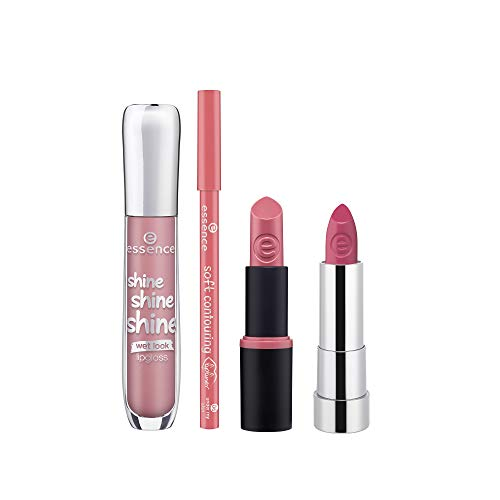essence | Shine Shine Shine Lipgloss (Light Pink/Nude), Matt Matt Matt Lipstick (Nude), Ultra Last Instant Colour Lipstick (Nude), Soft Contouring Lipliner (Pink/Nude) Bundle