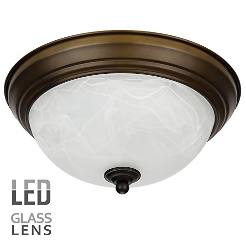 120v 15w Oil (LEONLITE Dimmable 11-Inch LED Flush Mount Ceiling Light Fixture, Alabaster Glass Shade, 15W (80W Equivalent), 3000K Warm White, 1050 Lumens, ETL Listed, 5 YEARS WARRANTY, Oil Rubbed Bronze)