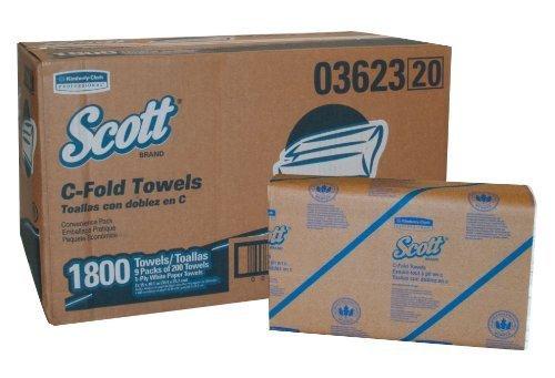Kimberly-Clark Scott 03623 1-Ply C-Fold Towel, 13-9/64'' Length x 10-1/8'' Width, White (9 Packs of 200)