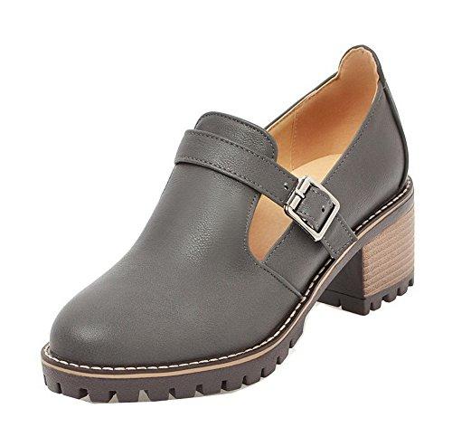 Odomolor Women's Kitten-Heels PU Solid Buckle Round-Toe Pumps-Shoes Gray VRW9VY0U