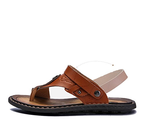 LHFJ sandali Walking Plus cuoio Slipper Outdoor Size Mens Cachi Flip Flop Open Beach di Toe Indoor nuovi rH6SUPnr