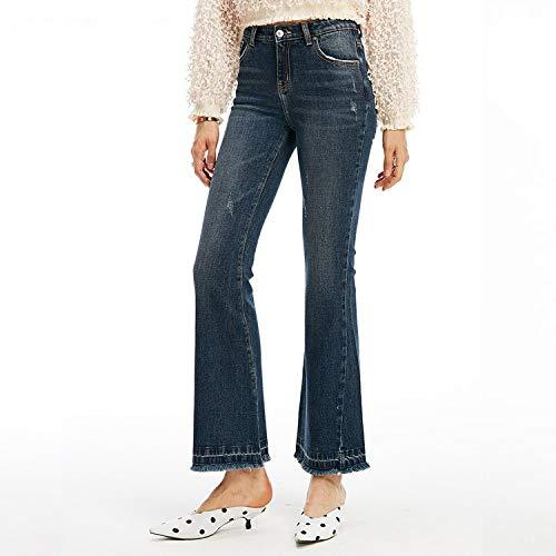 Cowboy Femminile Di Micro Mvguihzpo Xl Consumati Alta Jeans Vita Pantaloni Donna A Blu Moda Frangia S qgqz7