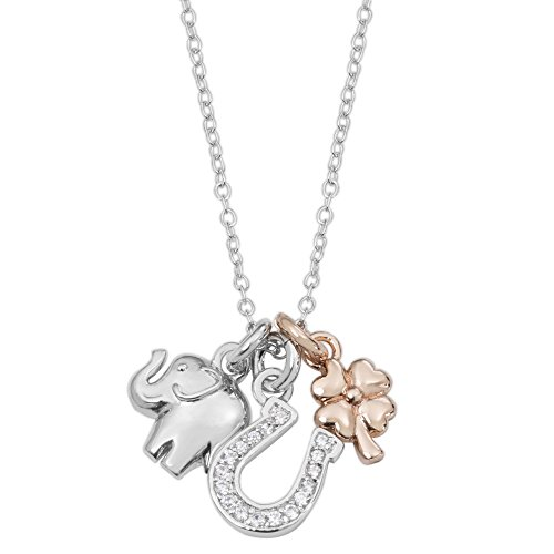 (Hallmark Jewelry Two-Tone Sterling Silver Cubic Zirconia Horseshoe, Elephant and Clover Lucky Charms Pendant, 18
