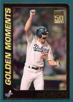 2001 Topps #382 Golden Moments Kirk Gibson Baseball Card - Hits Dramatic Two-Run Home Run for Dodgers in 1988 World Series Game 1
