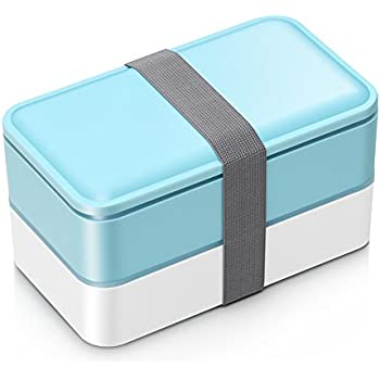 MacDiaz Leakproof Japanese Bento boxes For Adults and Kids Microwave Safe BLUE