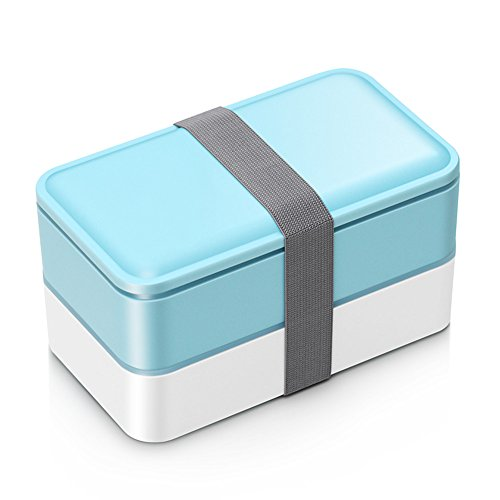 Bento box For Adults and Kids Japanese Lunch box Microwave Safe Stackable Portion Control with Cutlery Set BLUE